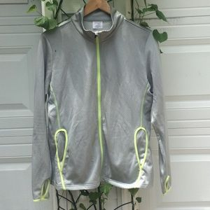 Athletic gray and neon green zip-up